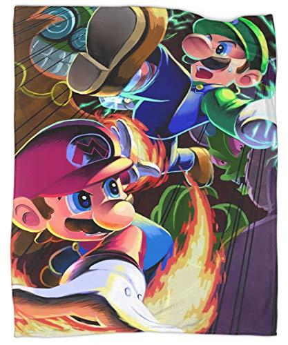 Manta ligera para todas las estaciones Super Mario Bros manta ligera y súper suave de microfibra para todas las estaciones, 60 x 80 pulgadas