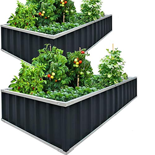 KING BIRD Raised Garden Bed 68''x36''x12'' x2 Packs, Galvanized Steel Metal Outdoor Planter Kit Box for Vegetables,Flowers, Fruits,Herbs,with 16pcs T-Type Tags & 2 Pairs of Gloves ,Dark Grey