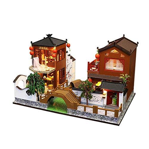 DWLXSH Puzzles 3D miniatura casa de muñecas DIY kit de serie de la ciudad casas de muñecas Accesorios, hecha a mano del tema de cabina de madera Asamblea Modelo de Construcción del sistema del juguete