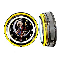 Checkingtime LLC 19 Miller High Life Beer Girl Clock, Yellow Outside Tube, Two Neon Tubes