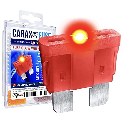 CARAX Glow Fuse – Premium Fuse Standard/Regular Blade ATC/ATO/ATS – 50 pcs. Assortment Kit – Glow When Blown LED Automotive Fuse – Smart Auto Glow Fuse Easy Identification – Mix 50 pcs.