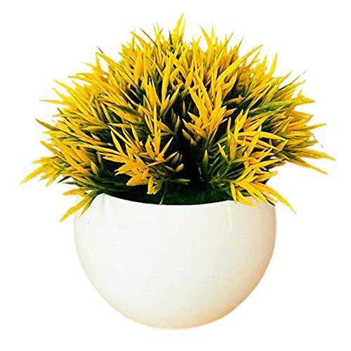 PINBinyee Plantas artificiales en interiores en macetas, maceta artificial que no se decolora, plástico realista para oficina, escritorio, simulación, para el hogar, color amarillo