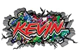 3D Wandtattoo Graffiti Wand Aufkleber Name KEVIN Wanddurchbruch sticker selbstklebend Wandbild Wandsticker Jungenddeko Kinderzimmer 11U031, Wandbild Größe F:ca. 140cmx82cm