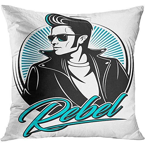 Throw Pillow Cover Hombre Rockabilly Rebel en chaqueta de cuero con peinado de los años cincuenta y gafas de sol Funda de almohada decorativa para hombre Funda de almohada cuadrada para decoración del