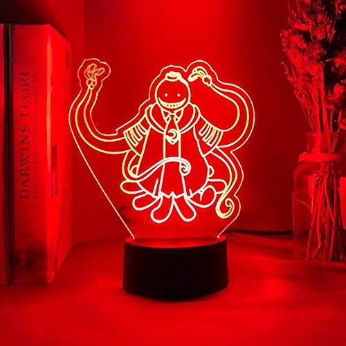 giyiohok Lámpara de ilusión 3D Luz de noche Led Assassination Classroom Korosensei Figure Kid para dormitorio Anime Gift para Kid Lámpara de mesa Koro Sensei