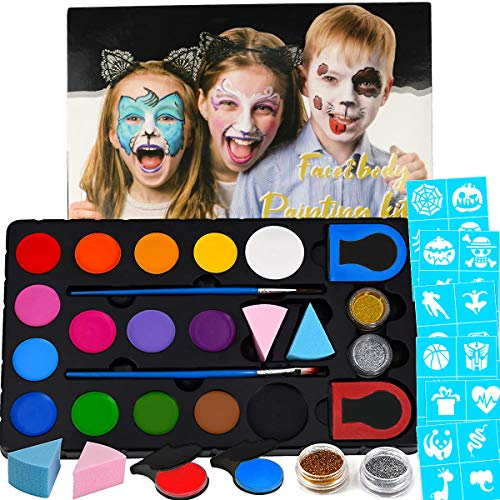 Halloween Face Paint Kit for Kids & Adults with 60