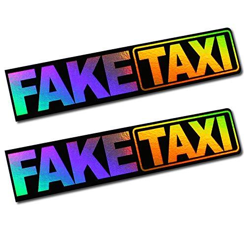 """Finest Folia - 2 adesivi con scritta """"Faketaxi"""" da 13 x 2,7 cm, effetto ologramma, per auto, moto, autobus e roulotte, accessori per auto R103"""