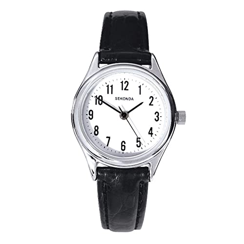 a72fa1910 Sekonda Women's Quartz Watch with White Dial Analogue Display and Black  Leather Strap