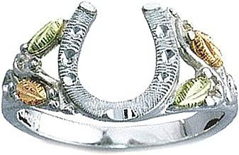 Horseshoe Ring, Sterling Silver, 12k Green and Rose Gold Black Hills Gold Motif