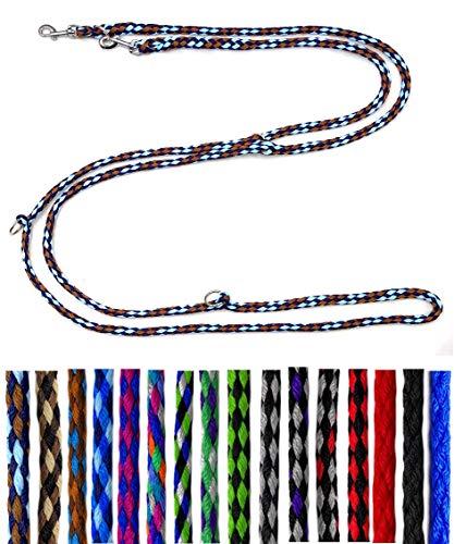 Hundeleine kleine Hunde bis 15 Kg / Doppelleine 4-Fach verstellbar 2,40m / 2,80m / 3,50m Führleine sehr leicht & robust (2,80m 4-Fach verstellbar, Afrika(Braun-Hellblau-Marine))