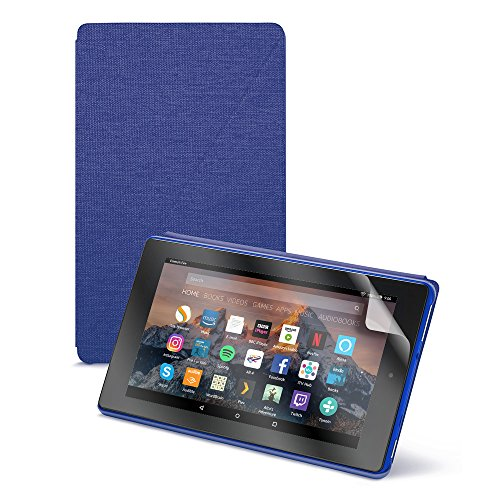 Fire HD 8 Essentials Bundle including Fire HD 8 Tablet with Alexa, 8' Display, 32 GB, Blue - with Special Offers, Purple Amazon Case, and NuPro Screen Protector Kit (2-pack)