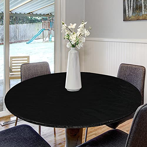 Round Vinyl Fitted Tablecloth Vinyl Elastic Tablecloth Plastic Tablecloth Protector Waterproof Fitted Oilcloth for Round Table Large Round Fits Table (Black, 29-36 Inch)