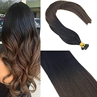 Sunny 22inch 1g/s Remy Itip Human Hair Extensions Ombre Color Natural Black to Dark Brown Brazilian I Tip Fusion Hair Extensions 50g Per Package