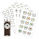 Azatemgo Etiquette épices Lot de 45 étiquettes épices autocollantes avec motifs et lettres d'épices pour pots à épices et 60 étiquettes vierges Rond 4 cm…
