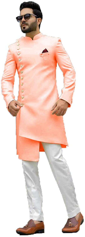 daindiashop-USA Exclusive Indian Men Sherwani Partywear Jodhpuri Suit Bhandgala Jacket Mehandi Prom Indo ICW2654-6