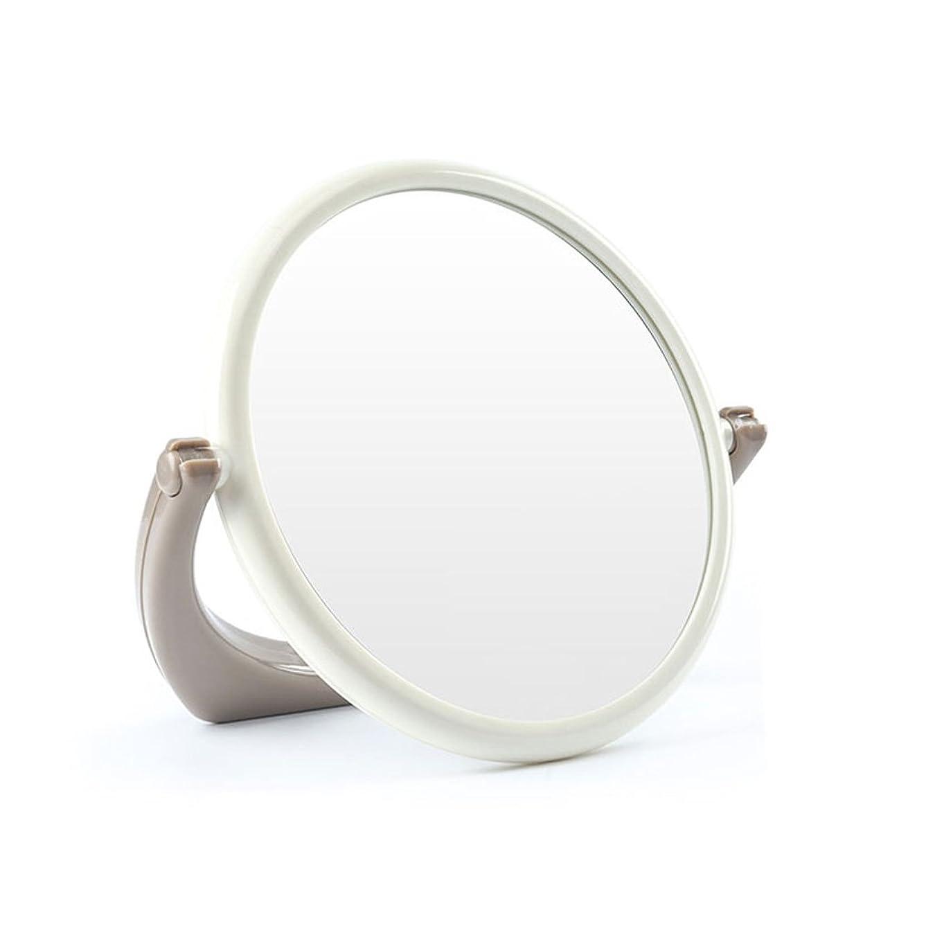 ページェントケイ素一次GSN 円形の両面化粧鏡シンプルでスタイリッシュなリビングルームバスルームデスクトップバニティミラー学生ドミトリールームミラートラベルポータブル 鏡 (Color : Brown)
