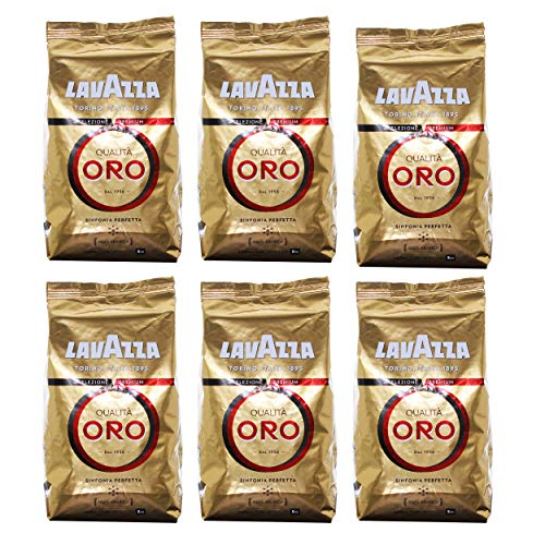 Lavazza Qualita Oro Coffee Beans, 1000g (Pack of 6, Total 6000g)