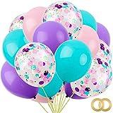 RUBFAC 60pcs Unicorn Mermaid Latex Balloons, 12 Inches Unicorn Confetti Balloons, Light Pink Blue Purple Assorted Balloons for Unicorn Mermaid Parties, Unicorn Balloons Birthday, 2 Rolls of Ribbon