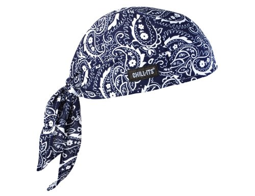 Ergodyne Chill Its 6615 Dew Rag, Lined with Terry Cloth Sweatband, Sweat Wicking, Navy Western