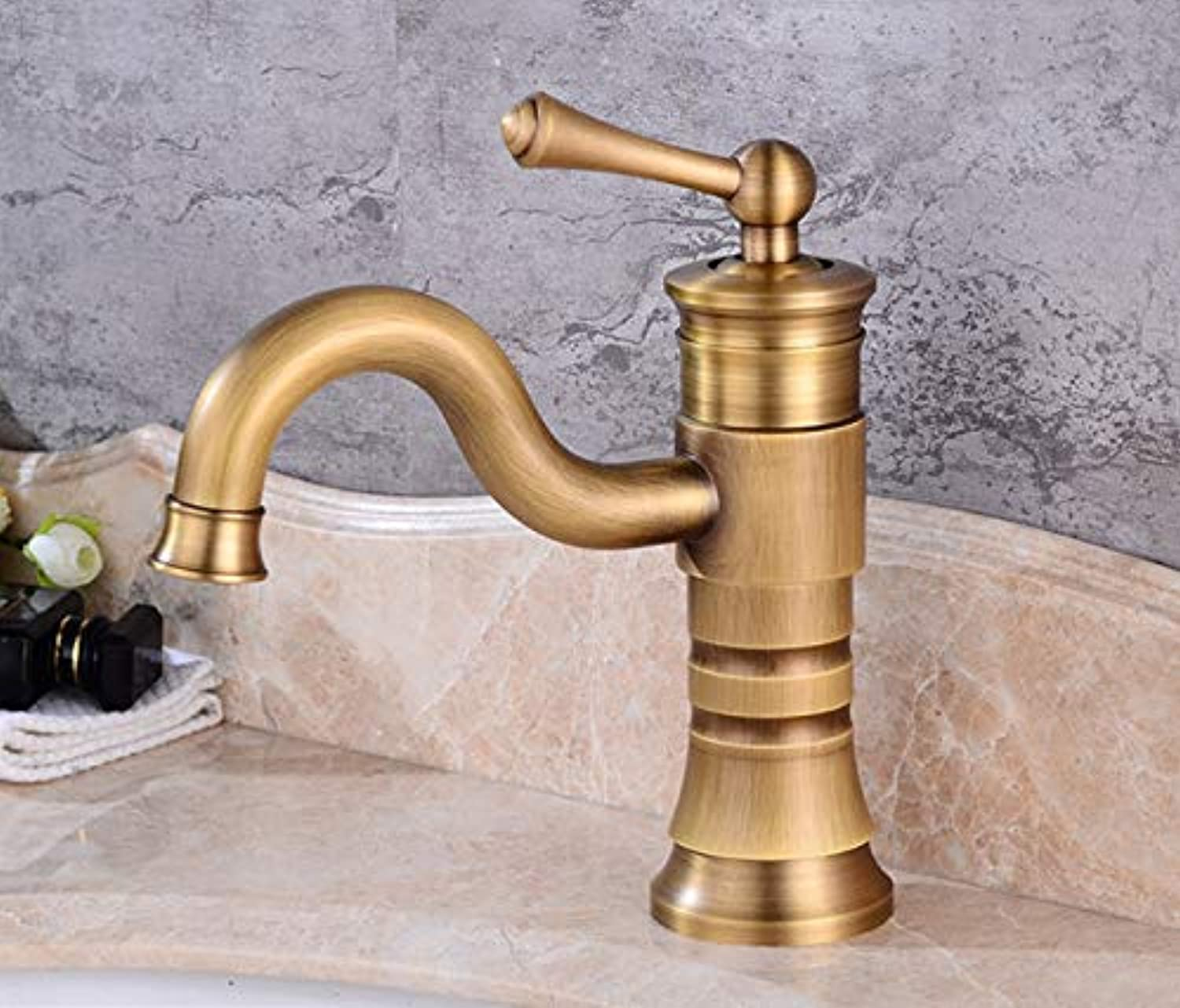 Faucets Antique Brass Faucet Bathroom With Single Handle Vintage Deck Mount Hot Cold Bath Mixer Water Tap F