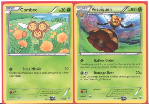 Vespiquen and Combee - Rare Pokemon Card Evolution Set (Plasma Storm #4 and #5/135)