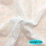 生地 布 綿100% パッチワーク布 カットクロス 刺繍透かしレース 洗える はぎれ 手作り かわいい おしゃれ 綿100% チェック ドット 子供 花柄 DIY 手芸用 大人用 家庭用 幅130cm (1m, スタイル2)