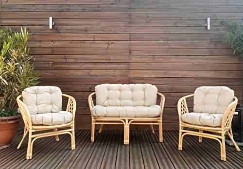 Mayaadi-Home Gartenbankauflagen 6 teiliges Sitzkissen-Set Sitzpolster für Gartengarnitur Set Steve Beige JCG1