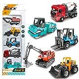 Vanplay Metal Coche Juguete Colorido Camión de Construcción Excavadoras Coleccion Coches Juego de Regalo de Cumpleaños para Niños 3 4 5 Años