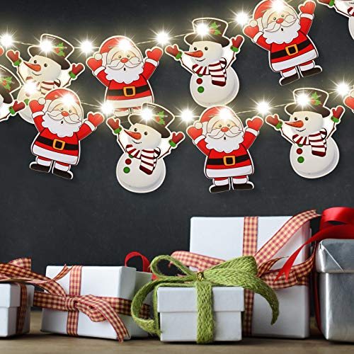 Santa and Snowman Christmas Banner and 9.84 Feet Warm White Copper Wire Lamp Combination Christmas Bunting Banner Copper Wire Light for Christmas Holiday Party House Office Fireplace Mantel