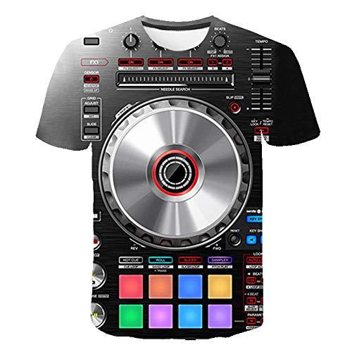 LYLLXL 3D Impreso Camiseta,Tendencia Novedad DJ Reproductor De CD...