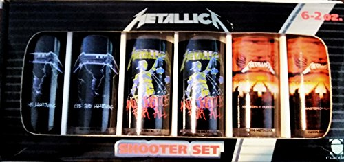 SIX METALLICA SHOOTER SHOT GLASSES CD COVER ART NIB