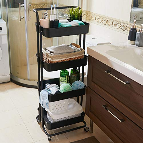 TOLEAD 4Tier Rolling Utility Cart with Lockable Wheels and A Handle Multifunctional Mobile Storage Trolley Cart for Bedroom Kitchen Bathroom Study Office and Living Room Black 2021 New