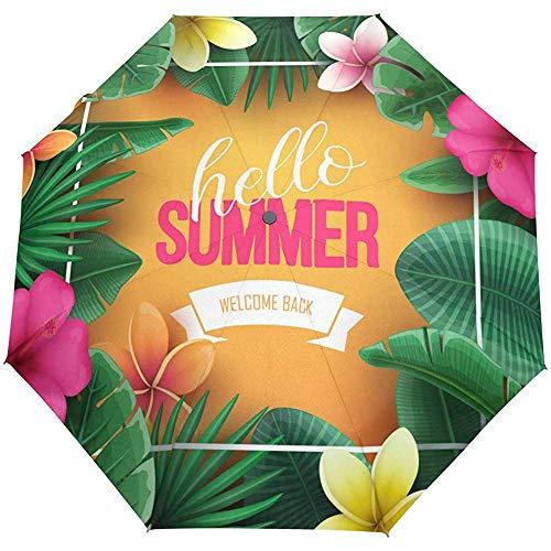 Sommer-Blumenblume-Tropische Blätter Auto offener Regenschirm-Sonnenregen-Regenschirm Anti-UV, der kompakten automatischen Regenschirm faltet