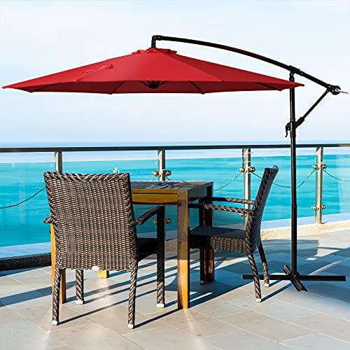 Deponel Offset Outdoor Umbrella 10ft Cantilever Patio Umbrellas...