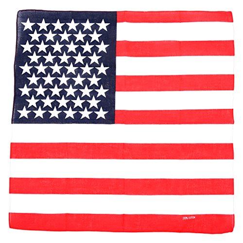 Gleader 1 x bandana/foulard/mouchoir de tete Design de drapeau des etats-Unis d'Amerique