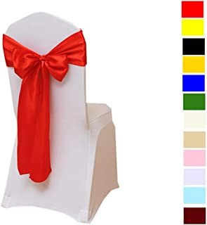 Fvstar 10pcs Chair Ribbons Bows Satin Wedding Chair Bows Elegant Party Chair Ribbons Decorative Chairs Cover Sashes Tie Bands for Birthday Events Supplies Baby Shower Banquet Decorations,Red
