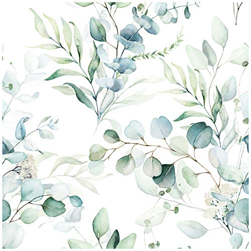 HaokHome 93042 Peel and Stick Wallpaper Green/White Eucalyptus Leaf Floral Wall Mural Home Nursery Boho Decor 17.7in x 9.8ft