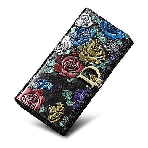Brieftasche Damen Leder Brieftasche Damen Groß 3D Stereoscopic Rose Echtes Leder Brieftasche Damen Lang mit 16 Kartenfächern und Reißverschluss Tasche Brieftasche Damen Groß