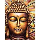 Soreatr Pintura 5D Diamante para Adultos y Niños Estatua de Buda Taladro completo Bordado Redondo Kits de Punto de cruz Artesanía Decoración de Pared para el Hogar Gift-20X30CM