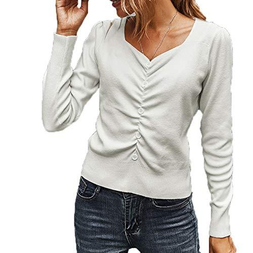 2YD8WH6 Herbst Und Winter Einfache V-Ausschnitt Mode Plissee Pullover Top Frauen
