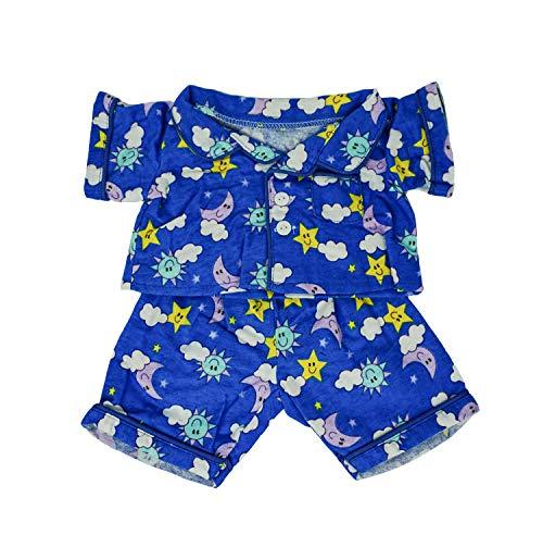 Blauer Pyjama für 40 cm Plüsch - Kleidung für Teddybär Stofftier Plüschtier