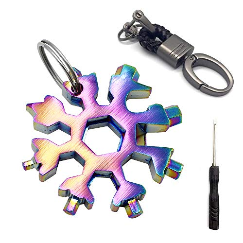 FUJIE Edelstahl Schneeflocke Multitool 18-in-1 Multi-Tool-Karte Schlüsselanhänger Flaschenöffner für Outdoor EDC, Farbe