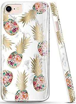 LUOLNH iPhone SE 2020 Case,iPhone 7 Case,iPhone 8 Case,Brilliant Design,Shockproof Clear Bumper TPU Soft Case Rubber Silicone Skin Cover Case for iPhone 6 6s 7 8 Golden Pineapple