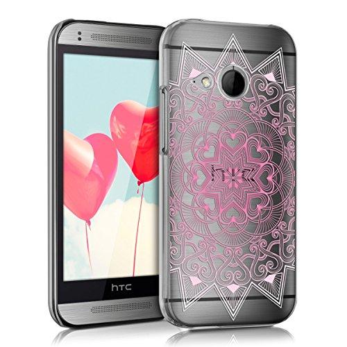 kwmobile HTC One Mini 2 Hülle - Handyhülle für HTC One Mini 2 - Handy Case in Herzmuster Design Rosa Weiß Transparent