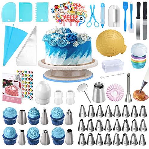 Uarter Set Decorazioni Torte Kit Pasticceria da 253 Pezzi, Utensili da Pasticceria Professionali con Vassoio per Torta Girevole, Punte per Pasticceria, spatole per glassa (Blue)