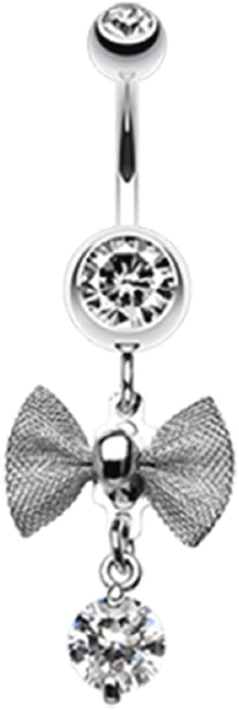 Freedom Fashion Dainty Bow Gem Sparkle 316L Surgical Steel Belly Button Ring (Sold by Piece)