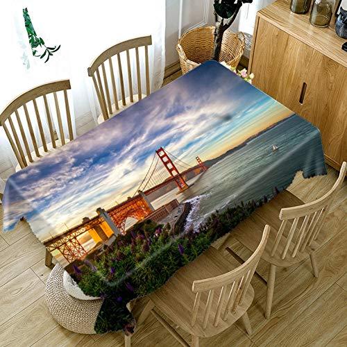 zmuyu 3D Fashion Light Bridge Mode Tafelkleed Stofdicht Dik Katoen Rechthoekig Tafelkleed Bruiloft Picknick Party