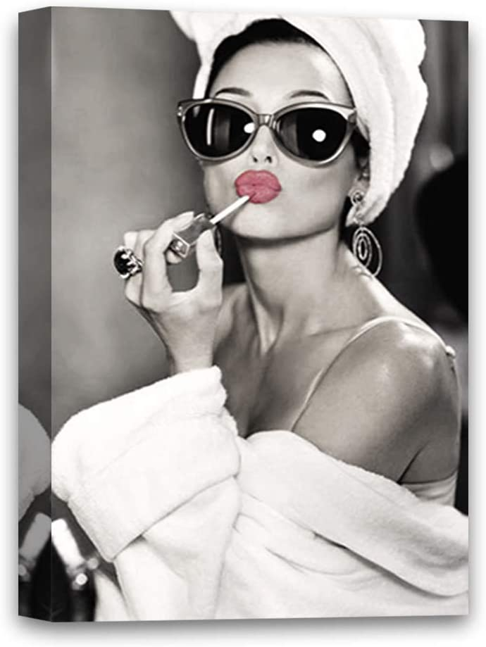 Max 61% OFF Pekatees Audrey Hepburn with Sunglasses M Wall Pink latest Lipstick Art