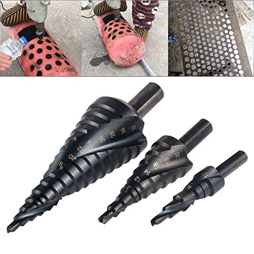 """HOHXEN 3 Packs Spiral Step Drill Bit Set with 4-12mm/4-20mm/ 4-32mm, Total 32 Sizes, 1/4"""" Hex Shank Cone Titanium Coated High Speed Steel, Multi-Functional Industrial DIY Metalworking tools"""