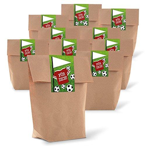 25 kleine braune Geschenktüten Papier-Tüten mit beschreibbarem Aufkleber Sticker Fußball FÜR DICH 14 x 22 x 5,6 cm Fußball-Party Deko Fußball-Fan Kinder-Tüten Jungen Geburtstags-Tüten Mitgebsel
